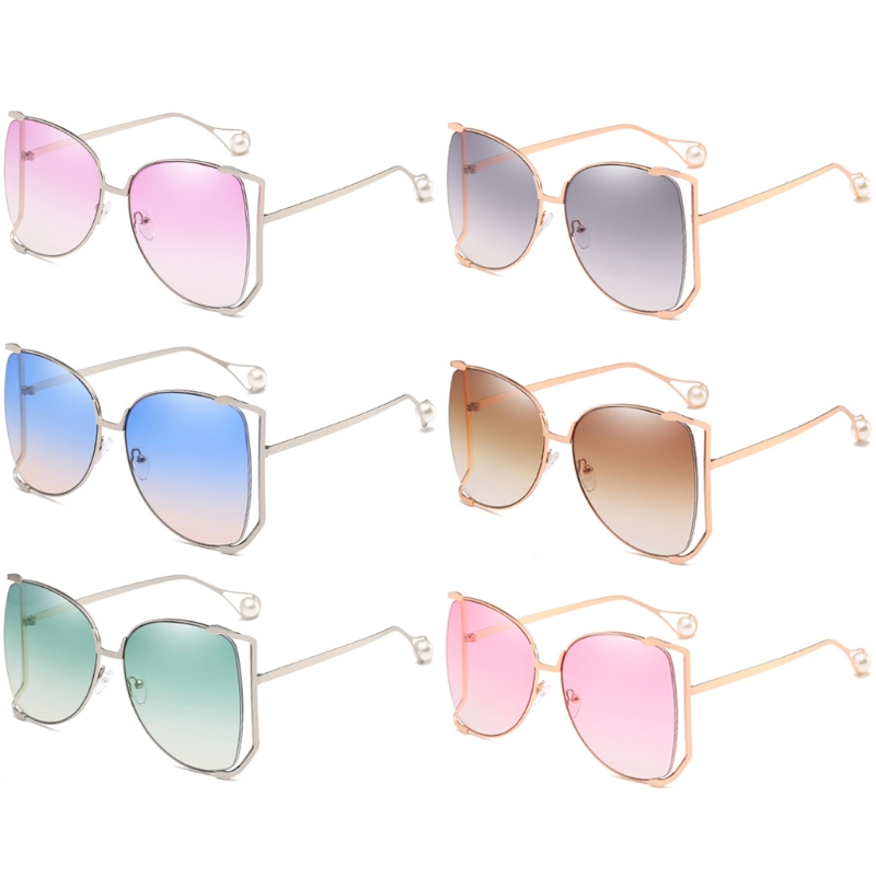 Chic Fashion Women <font><b>Sunglasses</b></font> Oversized Big Frame Square Outdoor Fashion Retro Faux Pearl <font><b>6</b></font> Colors New image