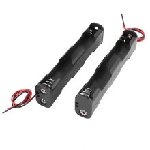CES-2 Pcs Dual Layers Black Plastic 4 x AA 6V Battery Holder Case w Leads