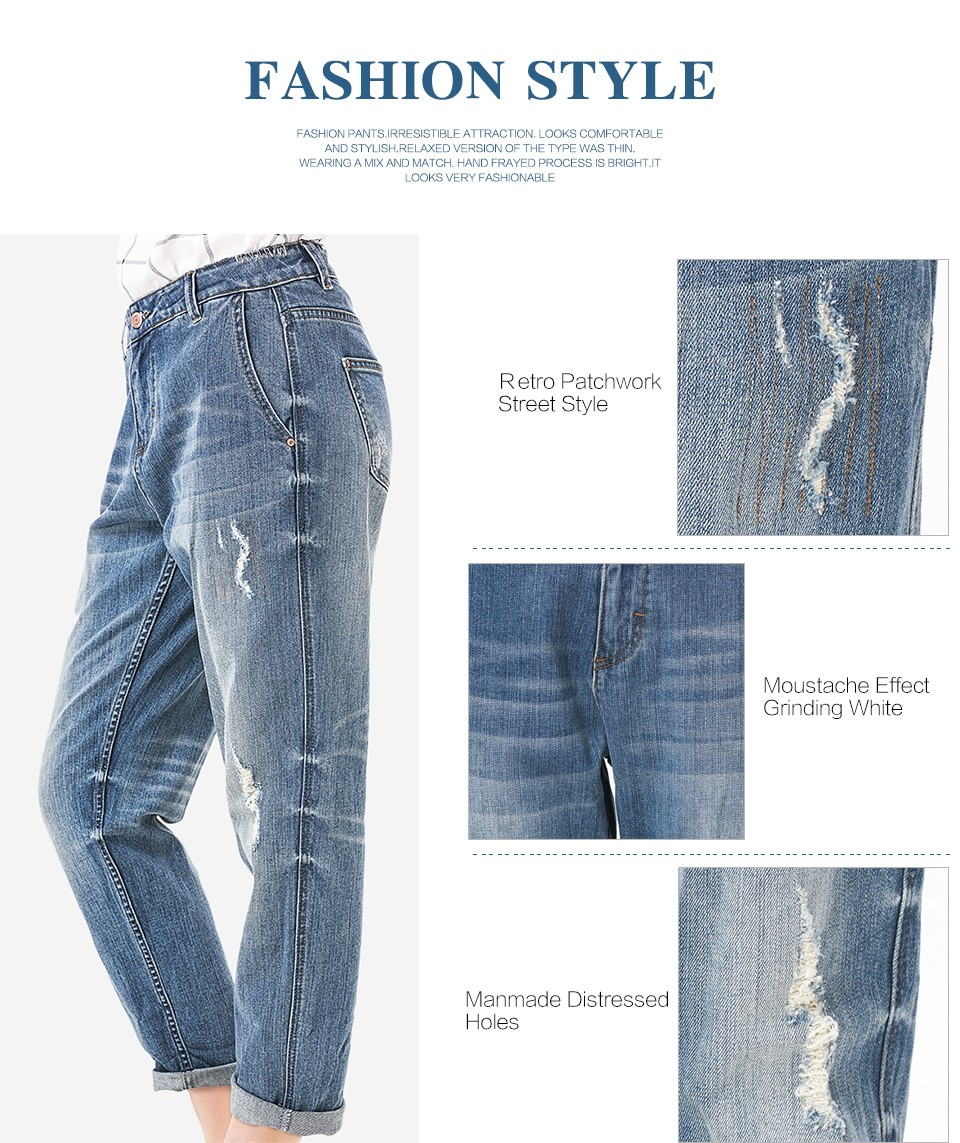 LEIJIJEANS Spring Plus Size Fashion Ripped Hole Bleached Mid Waist Ankle Length Vintage Stretch Loose Harem Women Jeans 7