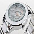 Luxo Cerâmica Branca de Cerâmica Resistente À Água Sports Mulheres Relógio De Pulso, Frete Grátis Top Quality Aço Strass relógio de Senhora 8638