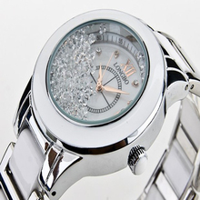 De lujo Blanco De Cerámica de Cerámica Resistente Al Agua Deportes Reloj de Las Mujeres, Envío Libre de Calidad Superior Rhinestone Señora reloj de Acero 8638
