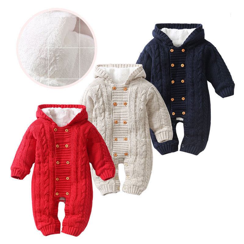 New thick warm infant baby rompers winter clothes newborn baby boy girl knitted sweater jumpsuit hooded kid toddler outerwear|Rompers| |  - title=