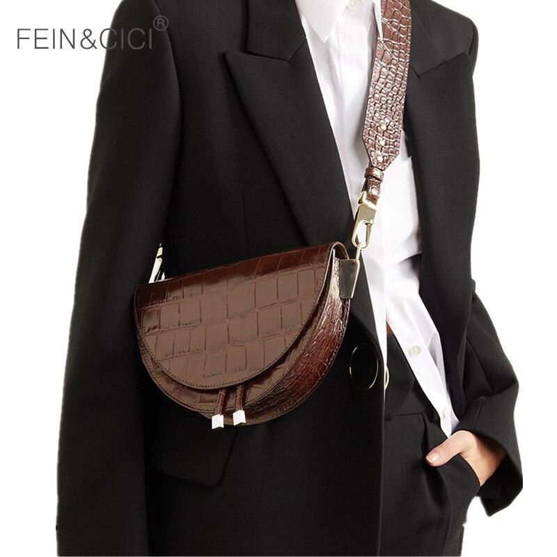 Sac de selle imprimé animal alligator en cuir sac à main rond femmes vintage demi-lune sacs 2019 nouveaux ins mode en gros