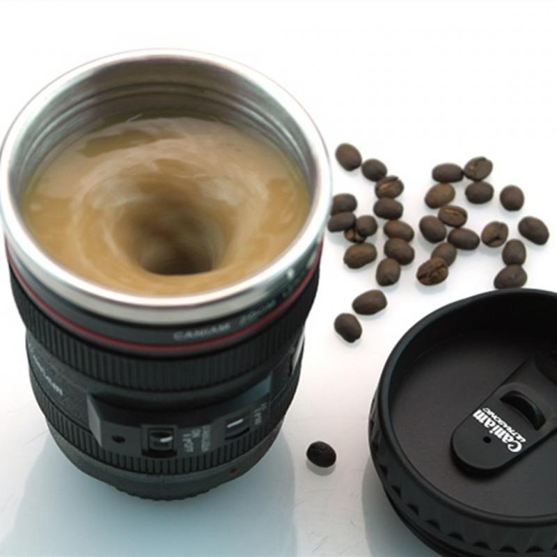 Canon Fifth Generation Stainless Steel Coffee Creative Camera Lens Emulation Mixing Mug Cup 300ml