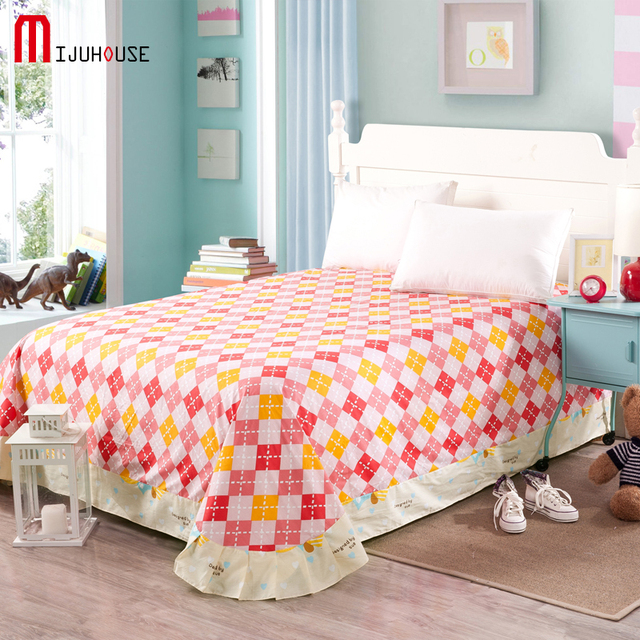 New Top Quality 100 Cotton Palace Bedding Sheet Small Flower Grid Line Beds Cover Twin