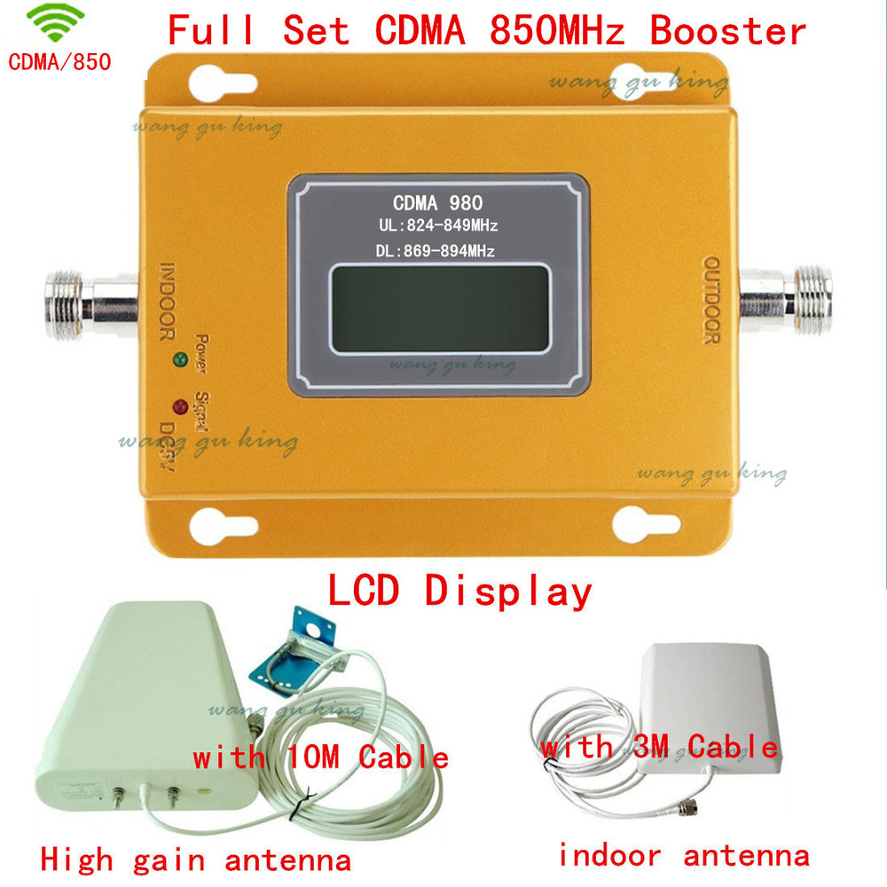 1 Year Warranty Full Set GSM 850 Cellular Signal Repeater CDMA 850 Mhz Mobile Signal Amplifier 70dB GSM 850 Cell Phone Booster