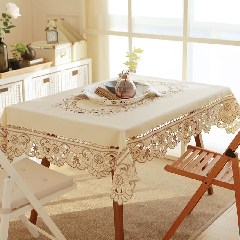 ingenio estilo europeo de polister pao de tabla cuadrado mantel bordado calado para el