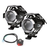 2pcs Motorcycle LED Headlight 125W 3000LM U5 Waterproof Driving Spot Head Lamp Fog Light Switch Motorcycle