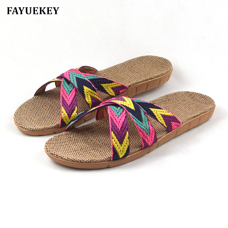 FAYUEKEY Summer Home Linen Non-slip Mixed Color Slippers Women Indoor\Floor Girls Gift Beach Open-Toed Slides Slippers Shoes fayuekey new fashion summer home striped linen slippers women indoor floor non slip beach slides flat shoes girls gift