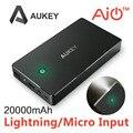 Aukey 5 v 3.4a cargador de viaje batería 20000 mah + luz led de $ number puertos de entrada y salida ai banco de la energía para iphone ipad meizu xiaomi, + cable