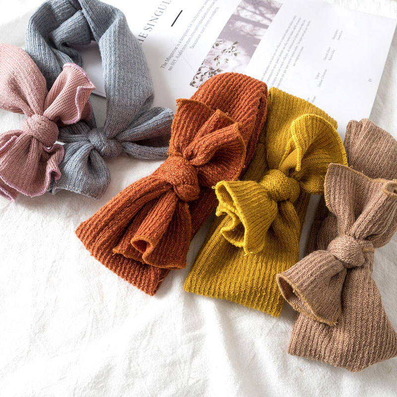 Headbands Turban Hair-Accessories Bows Knitted Newborn-Baby Girls Kids Cute