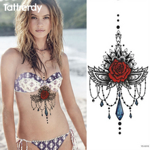 1pc Chest Tattoo Stickers Large Flower Shoulder Arm Sternum Tattoos Sleeve Body Paint Rose Jewelry Necklace Bikini