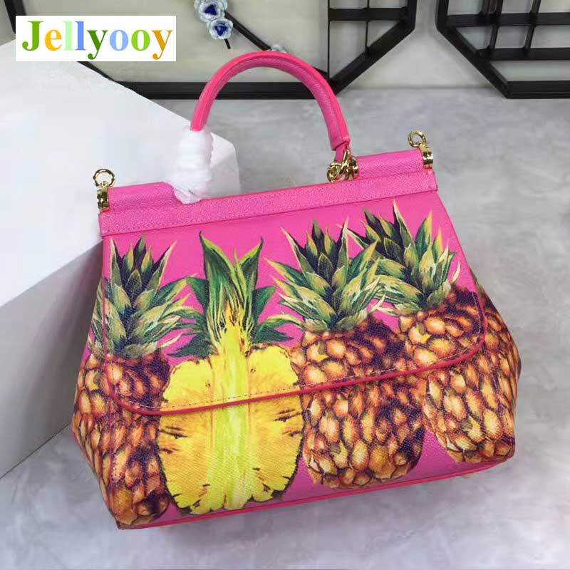 Luxury Women Tote Bags Pineapple Print Pink Medium Handbag Genuine Leather Cowhide Shoulder Bag Cow Skin Hasp Across Women's Bag kids pineapple print tee with rolled hem shorts