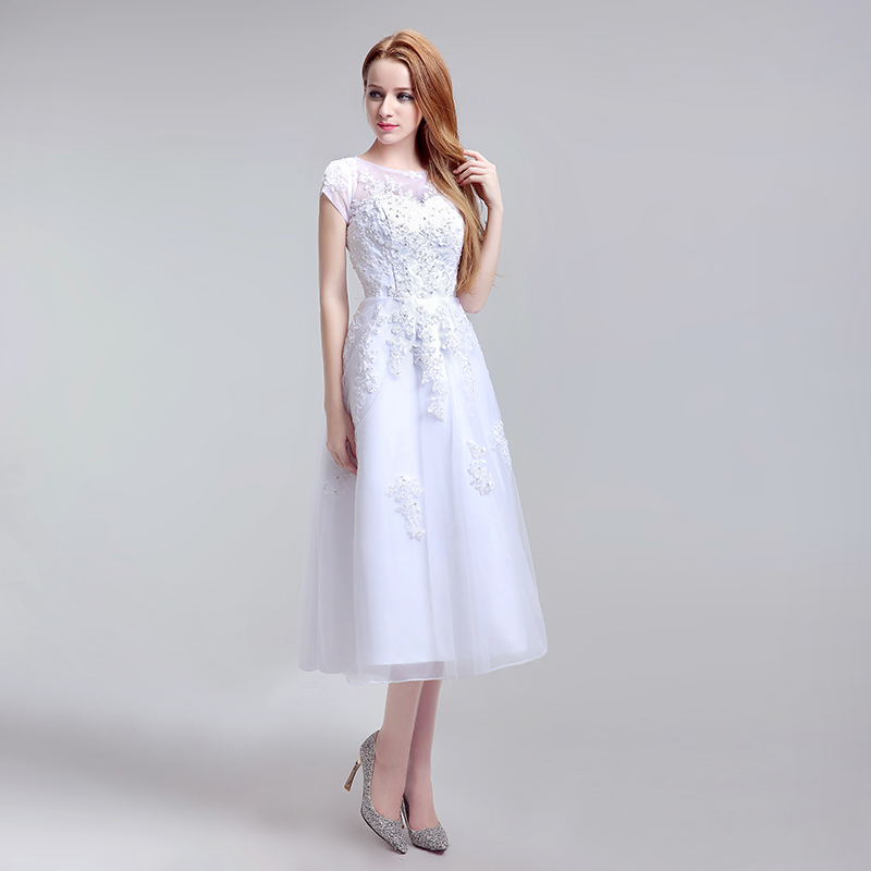 Simple Tea Length Lace Appliques Wedding Dresses Tulle A Line Cap Sleeve Little White Dress Cheap Short Bridal Party Gowns LX183 2