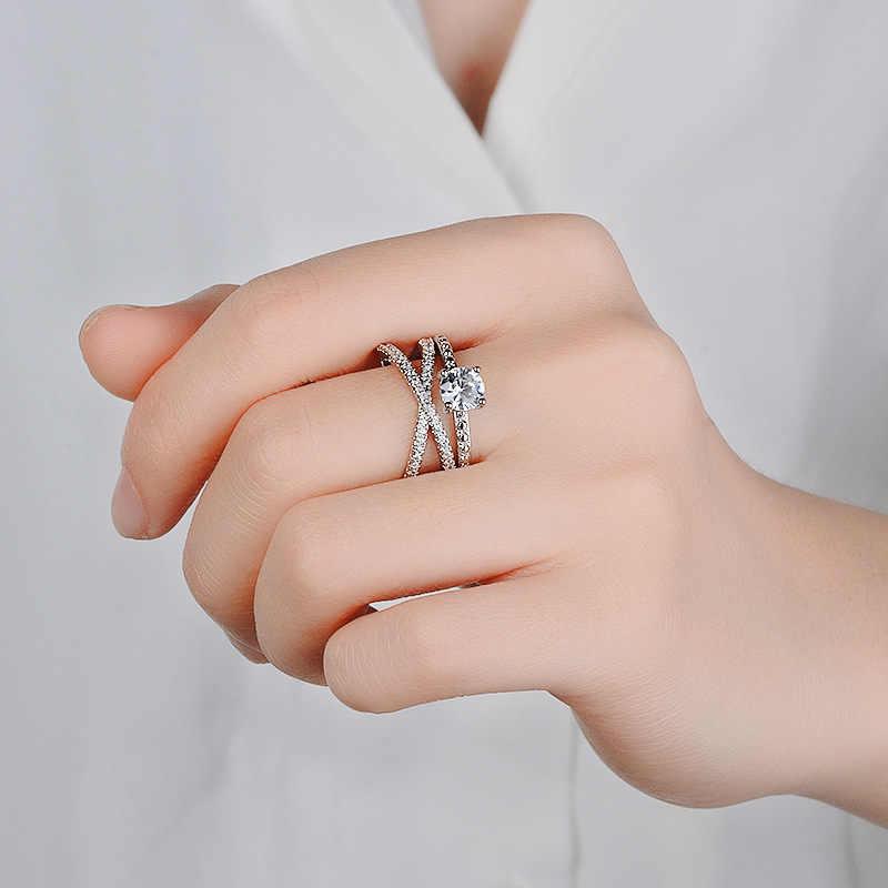 14 K Gold граненый фианит Anillos де кольца двойной раны Помолвочное кольцо Etoile палец кольцо Bizuteria для Для женщин Jewelry 6 7 8 9 10