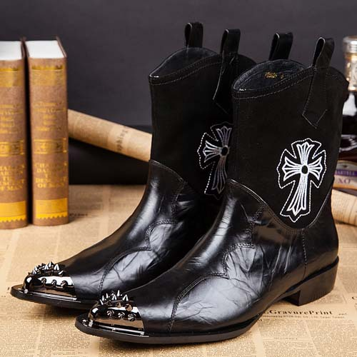 Free shipping New arrival fashion punk mid calf font b boots b font Rivets Pointed Toe