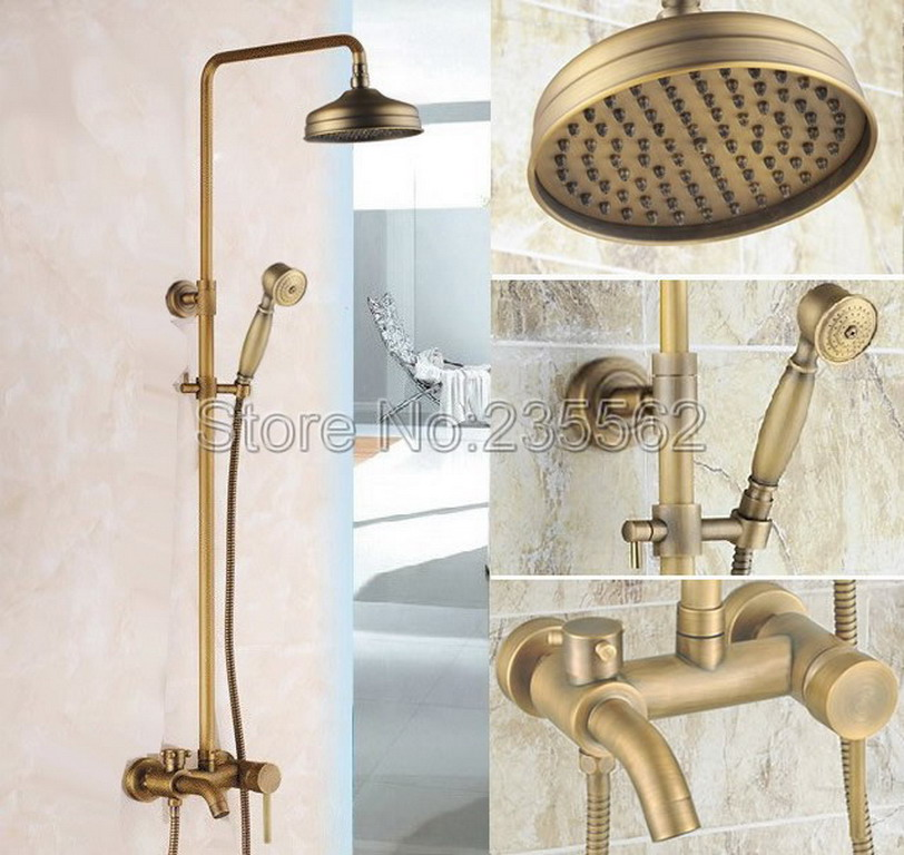 Antique Brass Wall Mounted Bathroom Rain Shower Faucet Set / Single Lever Bathtub Faucet with Handheld Shower lrs184Antique Brass Wall Mounted Bathroom Rain Shower Faucet Set / Single Lever Bathtub Faucet with Handheld Shower lrs184