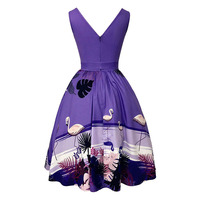Sisjuly Women Dresses Color Block Print Animal And Plant Sleeveless Round Neck Mid Calf Backless Girl
