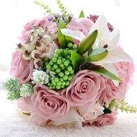 Peach Pink Artificial Fabric Rosette Flowers Wedding Bouquets 2016 Romantic Wedding brooch ramo de novia Wedding Accessies