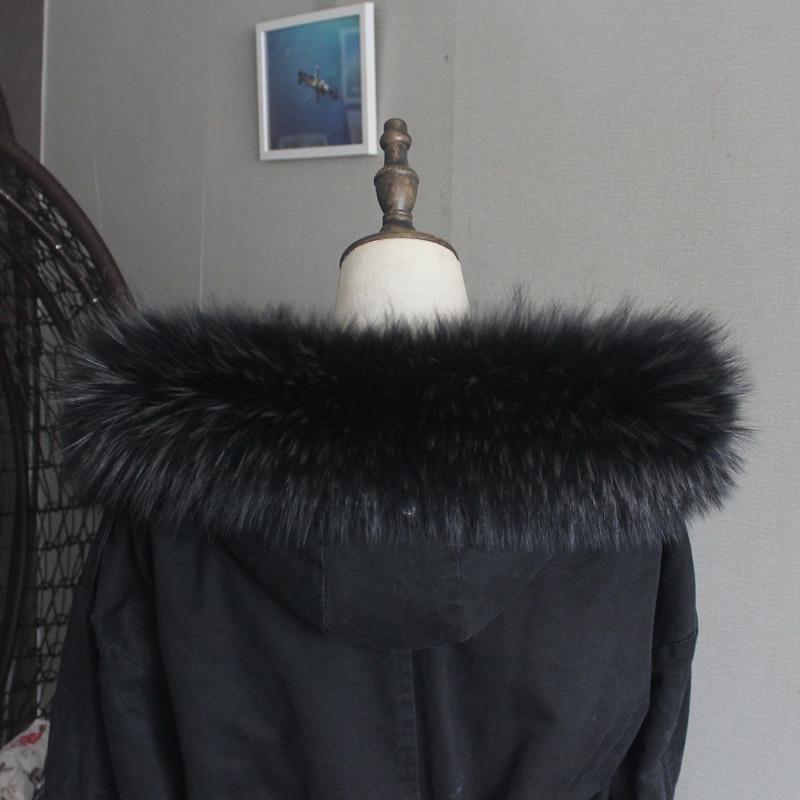 Зимняя куртка из натурального меха, воротник из натурального меха енота, женские шарфы, пальто, женская шапка, длинный теплый шарф из натурального меха, большой размер - Цвет: Dark gray tip