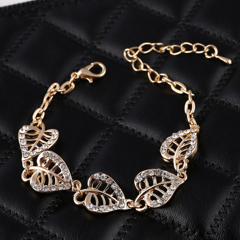Hesiod Gold Color Heart Leaf Charm Bracelets Bangles Link Chain Crystal Bracelets Bridal Wedding Jewelry Birthday Gifts