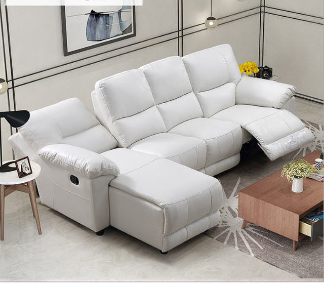 Whit Leather Living Room Sofa Set L Corner w/ Electric Recliners 1