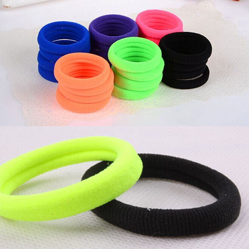 2Pcs Womens Style Seamless High Elastic Hair Ring Fluorescence Rope Xmas Gift CN