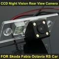 CCD ночного видения с 4 СВЕТОДИОДНЫЕ лампы Автомобилей Заднего Вида Камера Заднего вида ДЛЯ Skoda Fabia Octavia RS Автомобиль