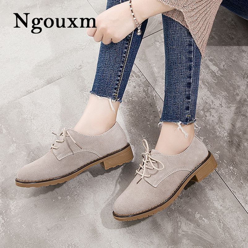 Ngouxm 2018 Autumn Women's oxford shoes flats suede leather shoes women casual sneakers round toe flats lace up shoes foreada genuine leather shoes women flats round toe lace up oxfords shoes real leather casual boat shoes brown pink size 34 40