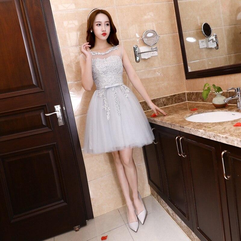 FOLOBE mode col transparent dentelle Mini femmes filles robes dentelle Tulle robes courtes gris robes de mariée formelles