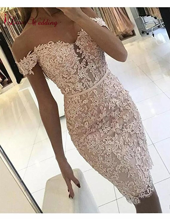 Pink   Cocktail     Dresses   2019 Off the Shoulder Lace Applique Beaded Knee Length Formal   Dress   Robe De   Cocktail   Party Gown