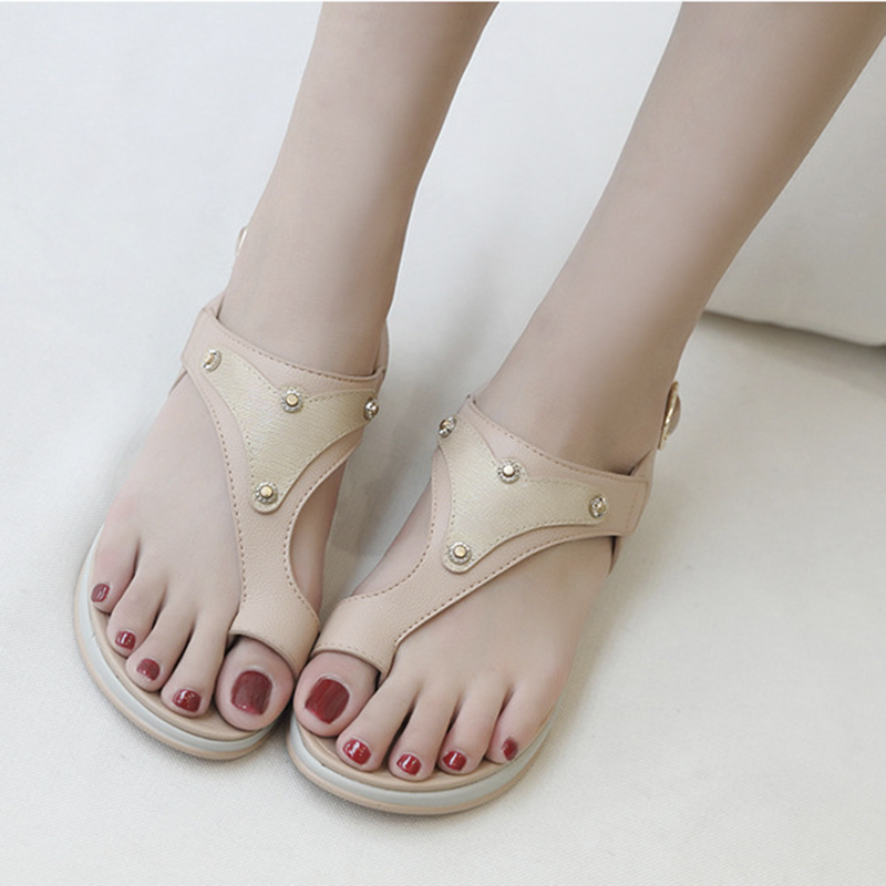 Plus Size 35 42 Casual Women 39 s Sandals 2019 New Metal Wedges Comfortable Thick Buckle Clips Toe Shoes Female Slip Ons Flats in Low Heels from Shoes