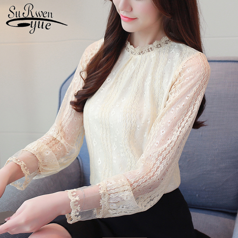 fashion women blouses 2018 autumn lace chiffon tops long sleeved women s blouse female clothes plus