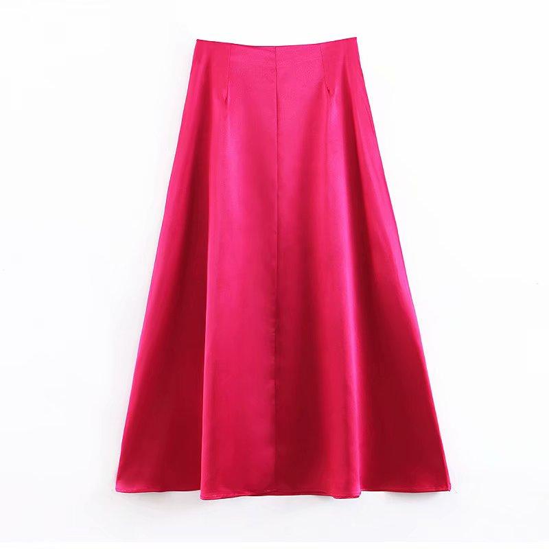 Été solide longues jupes femmes mode danse dames a-ligne plissée épissure jupe en soie femme jupe