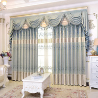 Elegant Pastoral Chenille Hollowed Embroidered Leaves Blue Window Curtain Sheer For Living Room Bedroom Villa 1pcs