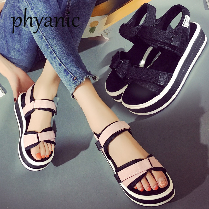 Phyanic 2018 Summer Korean muffin Open Toe women sandals with platform Wedge sandals simple shoes Casual students Summer Shoes стоимость