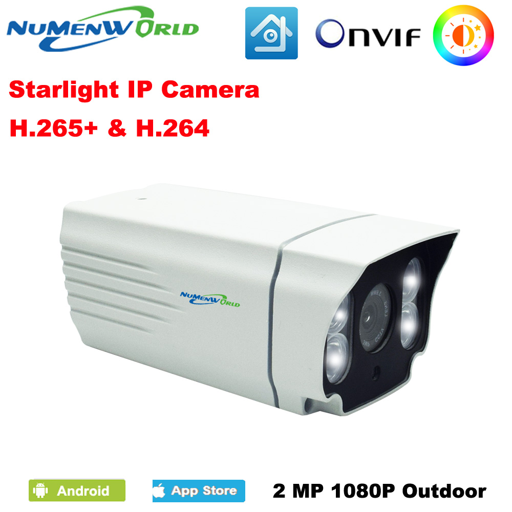 NuMenWorld Starlight Caméra IP 1080 p HD H.264/H.265 Blanc Haute Efficacité LED Image en Couleur Polychrome Extérieur Plus éclairage