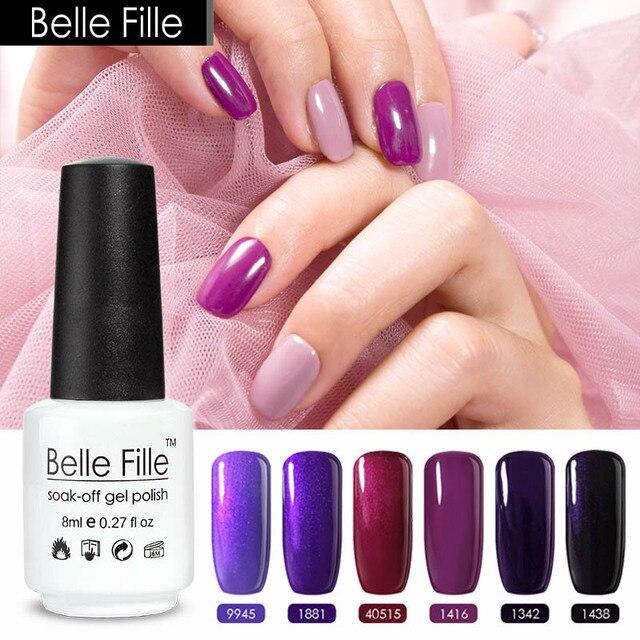 Belle Fille 8ml Purple Glitter Nails Nail Gel Polish Violet Grape ...