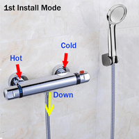 High Quality Brass Chrome Wall Mounted Bathroom Thermostatic Faucet Thermostatic Bathroom Shower Faucet Bathtub Faucet