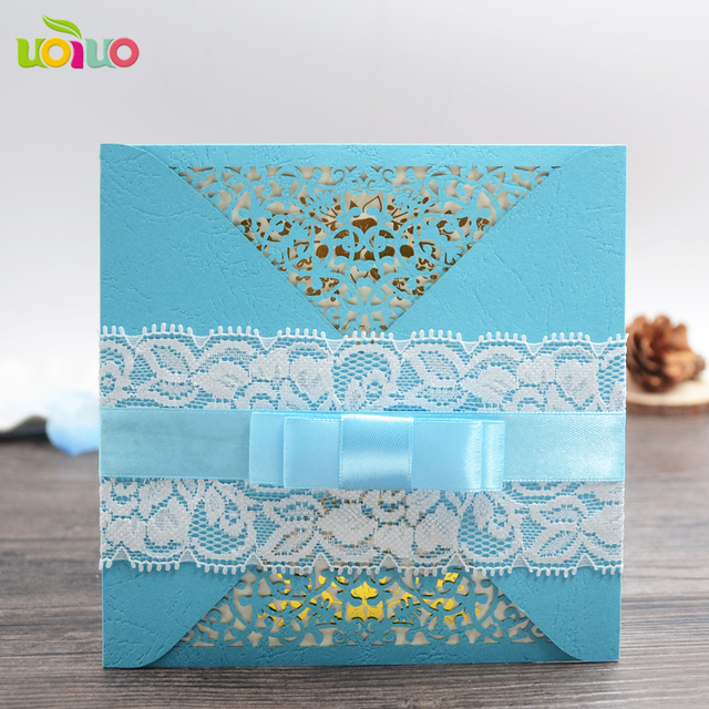 Unique Sky Blue Pocket Lace Wedding Invitation Card Chinese Cards Make Guangzhou Whole