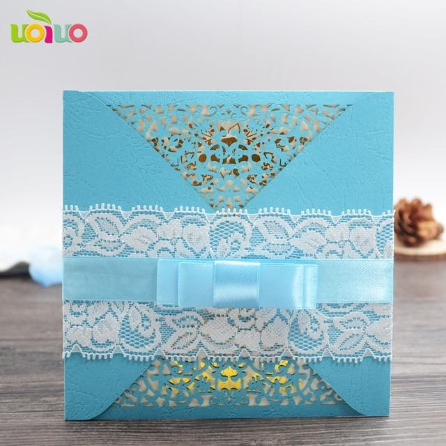 Unique Sky Blue Pocket Lace Wedding Invitation Card Chinese Wedding