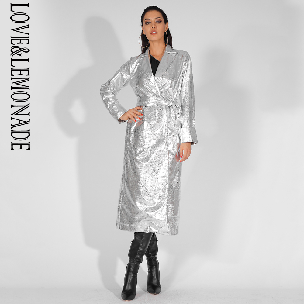 Love&Lemonade Lapels Loose Long Sleeves Reflective PU Material Coat (With Belt) LM81451SILVER