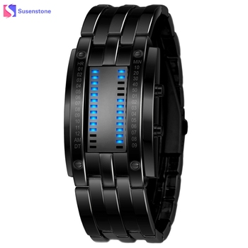 3e9b8d9b27bf Reloj de lujo con correa de acero inoxidable y reloj Digital LED para hombre