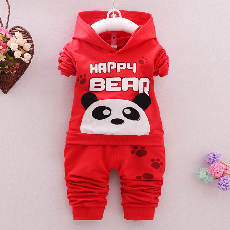 Kids Clothes 2016 Autumn/Winter Baby Boys Girls Cartoon Panda Cotton Set Children Clothing Sets Child Hooded T-Shirt+Pants Suit cotton baby rompers set newborn clothes baby clothing boys girls cartoon jumpsuits long sleeve overalls coveralls autumn winter