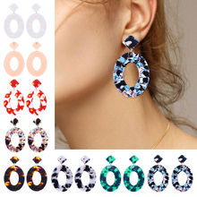 HOCOLE New Fashion Acrylic Drop Earrings For Women Geometric Pendant Acetate Dangle Earring Statement Bohemian Jewelry