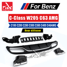 For Mercedes Benz W205 ABS 4 Outlet Rear Diffuser with Exhaust Tips C Class C180 C200 C250 Door Change to C63 AMG 2015-in