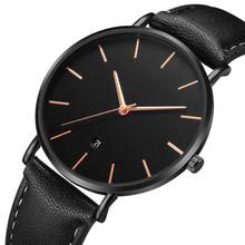 Minimalist Design Watches Men Top Brand Luxury Leather Quartz Watch Sport Watch Erkek Kol Saati Calendar Men Wristwatch Clock