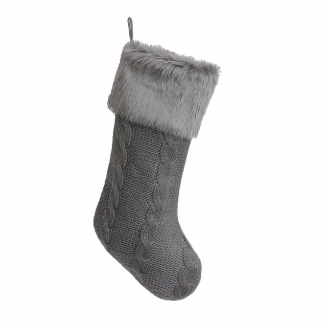 Free Shipping Christmas Gifts Socks/Christmas Decoration/Grey Knitting With  Faux Fur Cuff Christmas