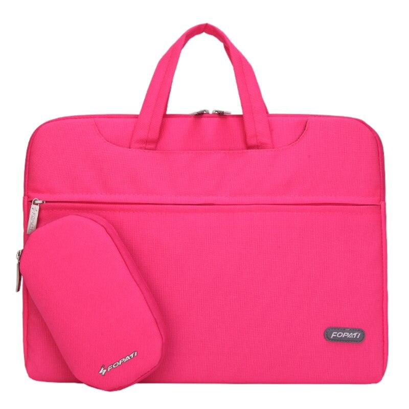 15 inch Laptop Bag Notebook Shoulder Messenger Bag Men Women Handbag Sleeve (Hot Pink)