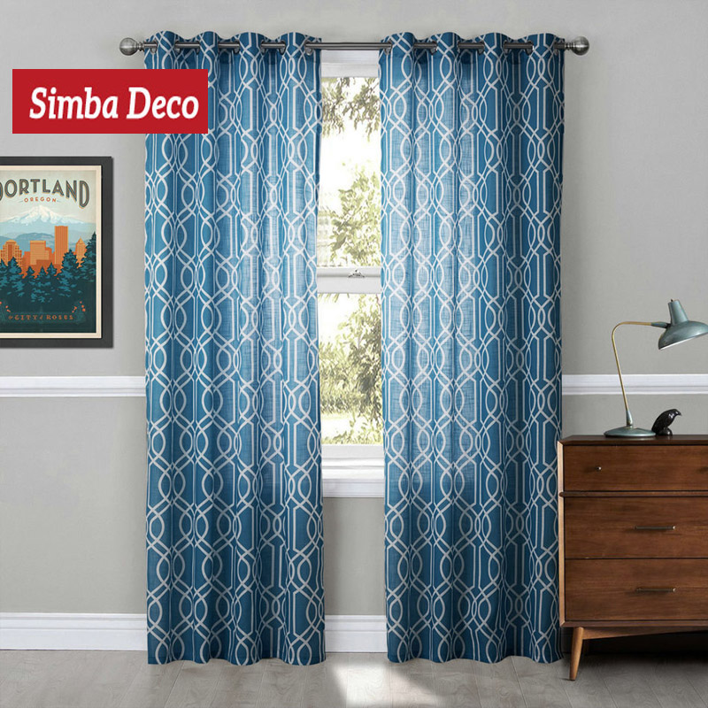 modern window tulle curtains for living room geometric blue sheer curtains for kids bedroom voile ready